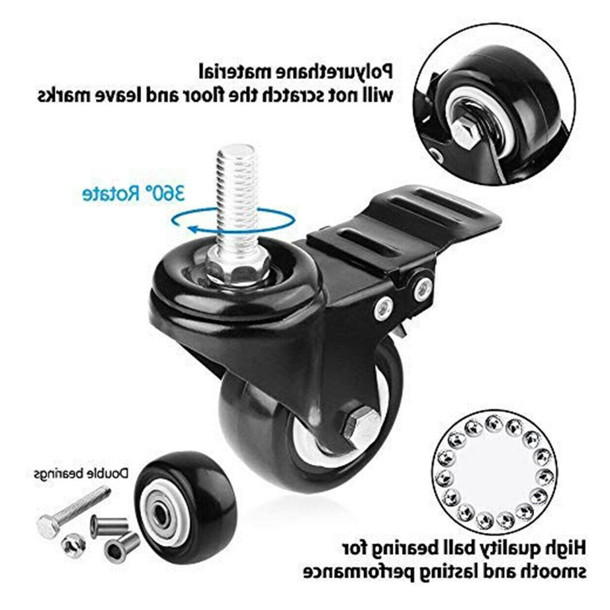 2PC Swivel Caster Wheels with Locking and Noise