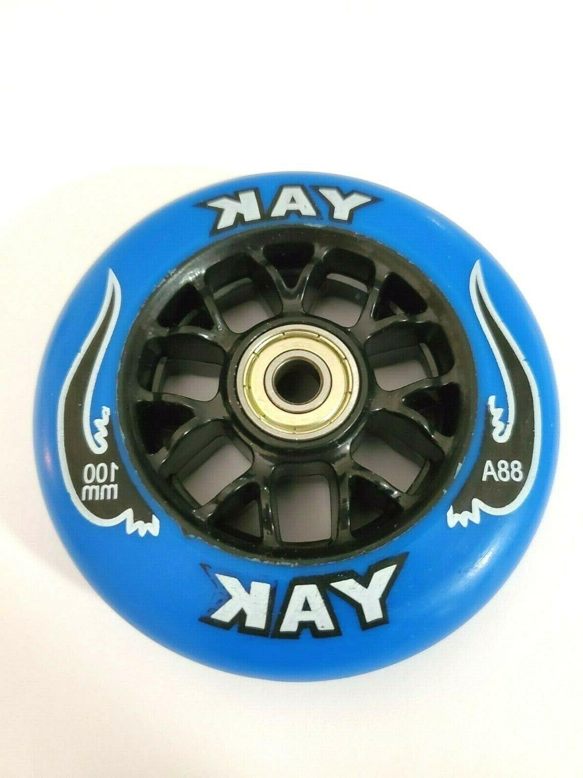 2x blue 100mm replacement wheels abec 7