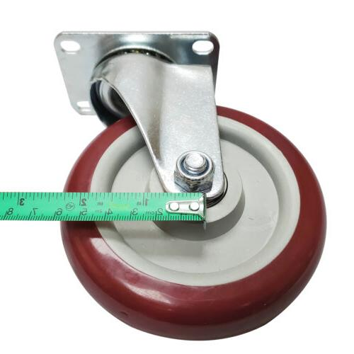 4 5 5'' Wheels Swivel Plate Casters Polyurethane