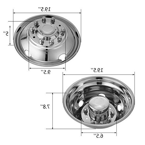 Mophorn 4 PCS Wheel Simulators Inch 10 Hubcap Fit for 2005-2017 Ford F450 Trunk Polished Bolt On Cover