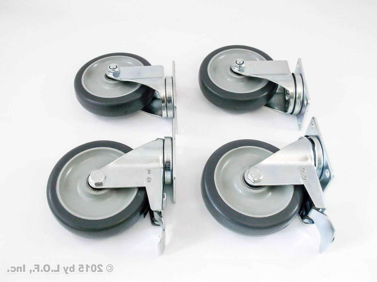 """4 Swivel Plate Casters Set with 5"""" Wheels Over Capacity"""