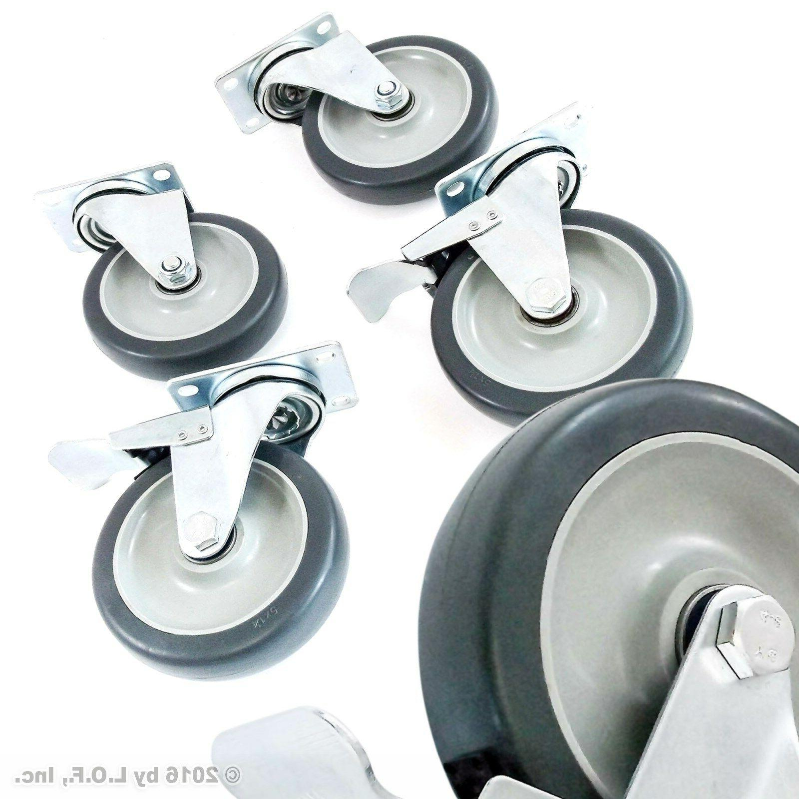 4 swivel plate casters set with 5