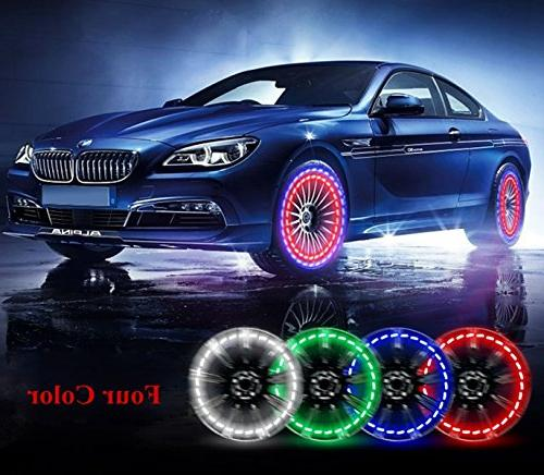 Solar Car Wheel Air with LED Tire Nozzle Cap Motion for Bicycles