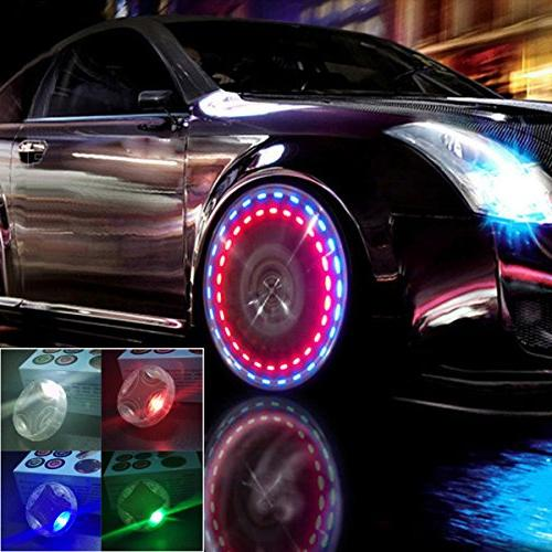 Car Tire Wheel Lights,4pcs Solar Wheel Tire Air Valve Cap LED Tire Light Nozzle Cap Motion Sensors for