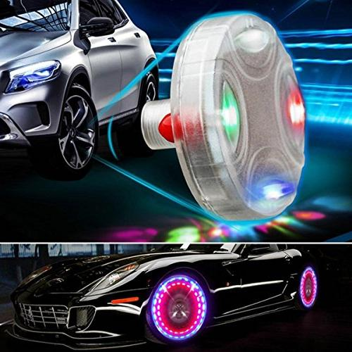 Car Tire Lights,4pcs Solar Car Wheel Air Light with Colorful LED Nozzle Motion for