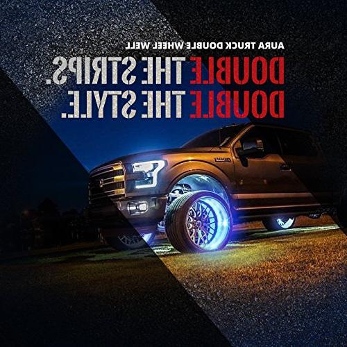 OPT7 Well LED Rim Strip - 4PC 24 Inch Multicolor Flexible - SoundSync, Handheld & Keychain Included - for SUVs Underglow
