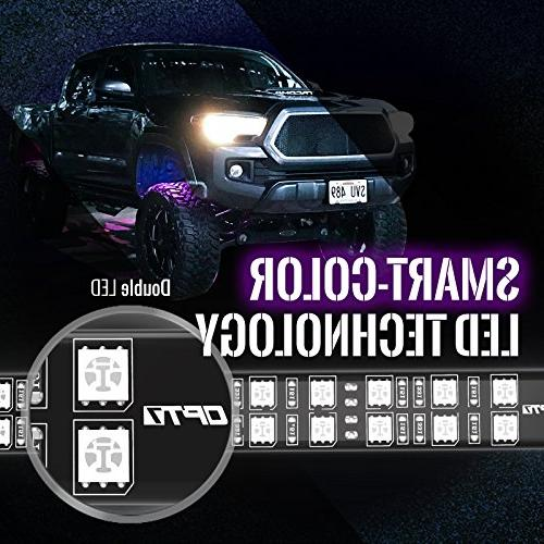 OPT7 Well Rim Light Kit - 4PC Complete Inch Multicolor Flexible Strips - SoundSync, Color Handheld & Included SUVs
