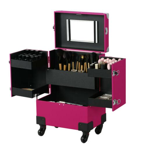 Cosmetic Train Case Wheels Professional Makeup Rolling