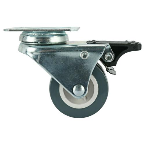 Dual Wheel Duty Swivel Plate Locking Casters 551 LBs, Pack-Silver Gray