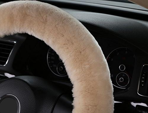Pure Wool Auto Steering Wheel Cover Great Steering Wheel Cushion Protector Universal Car,Truck,SUV,etc.