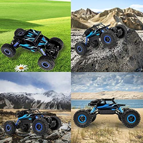 Geacool RC Cars 4WD Speed Off-Road Remote Control Vehicle 1:18 RC Rock Crawler Electric Race Monster Truck with RC Toys for Kids Adults