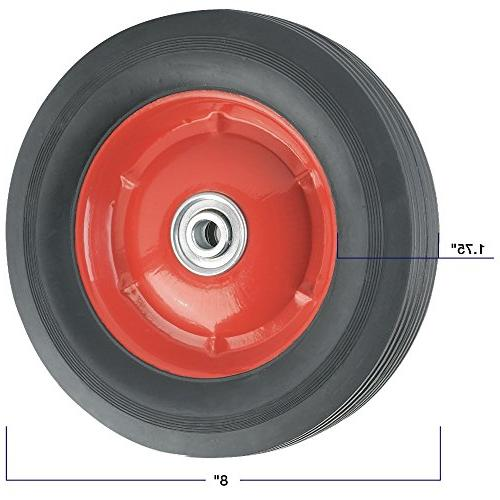 Replacement Wheel Offset Steel - 8-Inch x 1-3/4-Inch - Ribbed, 60 lb. - For use Wheelbarrows, Wagons, Carts, Many Other Products