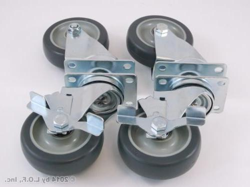 Set of Swivel Plate Casters Polyurethane Over 1100lbs Capacity