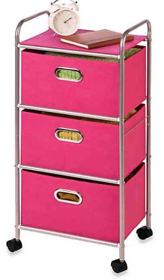 Steel 3-Drawer Rolling Fabric Cart in Pink