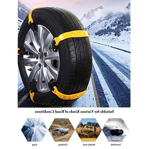 PrettyQueen Chains for Cars Snow Tire Chains for SUV Chain Adjustable Tire Cable Mergency 185-295mm/7.2-11.6''
