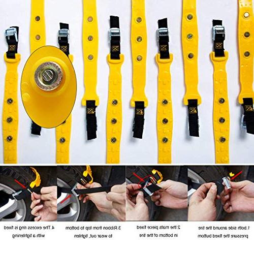 PrettyQueen SUV Chains Trucks Snow for SUV Anti Slip Tire Chain Adjustable Cable Mergency Car 185-295mm/7.2-11.6''
