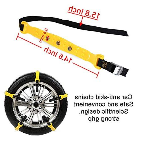 PrettyQueen SUV Chains Snow Tire Chains for SUV Anti Slip Chain Snow Cable Chains 185-295mm/7.2-11.6''