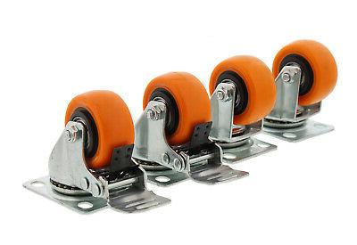 """ABN® Swivel Plate Caster Wheels 2"""" Inches Set of 4 Lockin"""