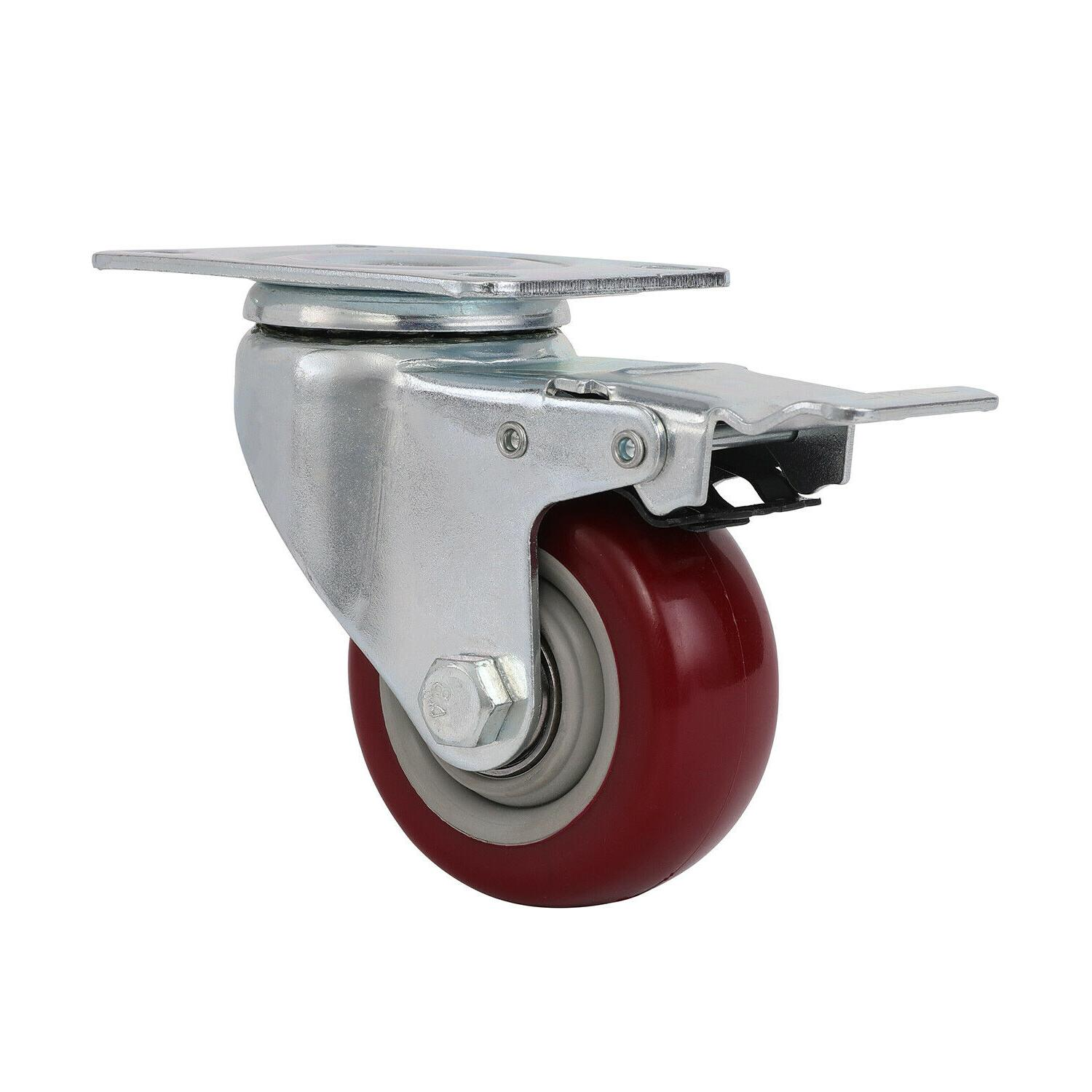 """US 5"""" Caster Total Lock Red Polyurethane"""