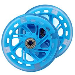AOWISH 120 mm Light Up Scooter Wheels Pair, LED Flash PU Rep