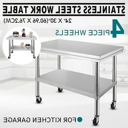 "NEW Commercial 30"" x 24"" Stainless Steel Work Prep Table Wit"