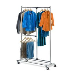 New Dual Bar Adjustable Steel Rolling Garment Rack in Chrome