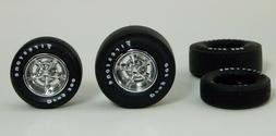 New Set of 4 Firestone Drag 500 Tires, Chrome Wheels & Hubs