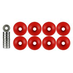 Quad Wheels Derby Roller Skate 57mm x 32mm Red With Bearings