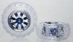 "RC Car Vehicle 3.75"" Diam 1 5/8"" Width Tire Wheel Set Clear"