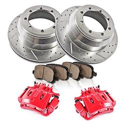REAR Powder Coated Red  Calipers +  8 Lug Rotors + Quiet Low