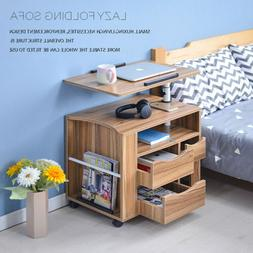 Rolling Wheels Nightstands Stand Desk Table Furniture Drawer