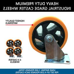 "Heavy Duty Premium 5"" Industrial Grade Caster Wheels"
