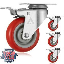 """Set of 4  Heavy Duty Swivel Casters with Lock Brakes 4"""" Poly"""