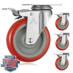 """Set of 4  Heavy Duty Swivel Casters with Lock Brakes 5"""" Poly"""