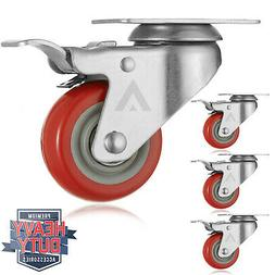 "Set of 4  Heavy Duty Swivel Casters with Lock Brakes 3"" Poly"