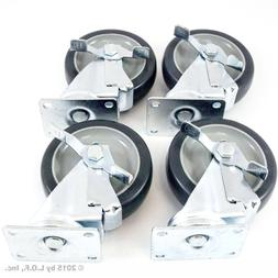 """Set of 4 Plate Caster with 5"""" Polyurethane Wheels All Swivel"""