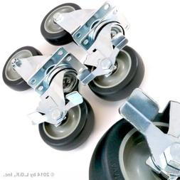 """Set of 4 Swivel Plate Casters with 4"""" Polyurethane Wheels Ov"""
