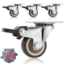 """Set of 4 Swivel Plate Casters with Brakes 1-1/4"""" Polyurethan"""