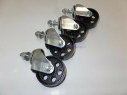 "Set of 4 Swivel Stem Casters with 3"" Cast Iron Wheels 12mm C"