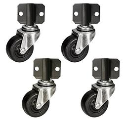 "Side Mount Plate Swivel Casters - 2"" Soft Rubber Wheel - Set"