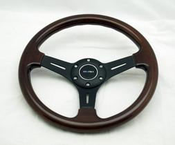 NRG Steering Wheel Classic Wood Grain with Black Spokes 330m