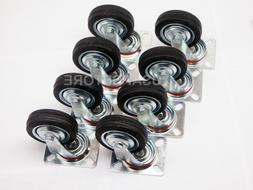 "8 Pack 3"" Swivel Caster Wheels Rubber Base with Top Plate &"