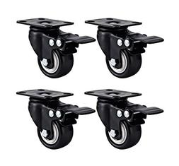 Swivel Caster Wheels Rubber Base with Top Plate & Bearing He