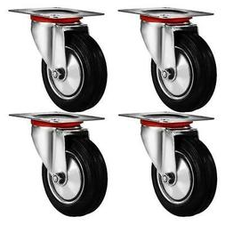 """4 Pack 3"""" Swivel Caster Wheels Rubber Base with Top Plate &"""