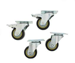 "ABN® Swivel Plate Caster Wheels 3"" Inches Set of 4 Lockin"