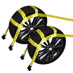 JCHL Tow Dolly Basket Straps with Flat Hooks  Yellow Car Whe