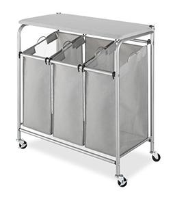 Whitmor 3 Section Rolling Laundry Sorter with Folding Statio