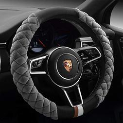 Cxtiy Universal Car Steering Wheel Cover Fluffy Winter Plush
