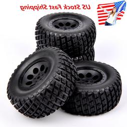 US 4Pcs RC 1:10 Short Course Truck Tires&Wheel 12mm Hex For
