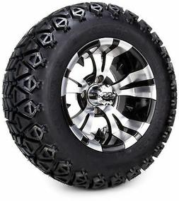 "12"" Machined Black Vampire Golf Cart Wheels and All Terrain"